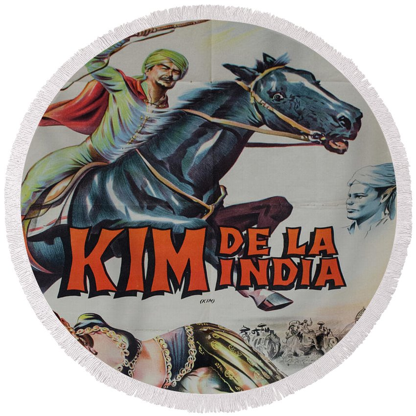 Kim De La India Starring Errol Flynn Round Beach Towel featuring the photograph Vintage Movie Poster 4 by Bob Christopher