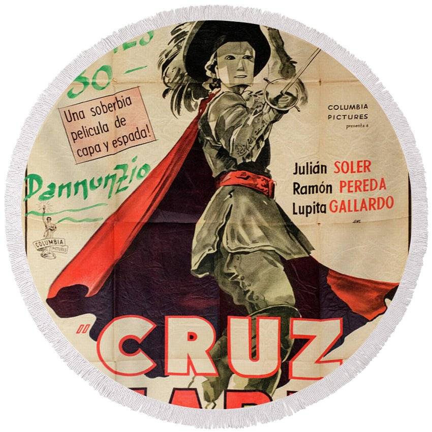 Cruz Diablo Round Beach Towel featuring the photograph Vintage Movie Poster 7 by Bob Christopher