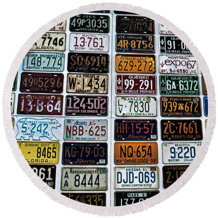 Number Plates Round Beach Towel featuring the photograph Vintage Number Plates by Martin Newman