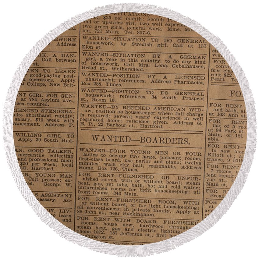 Background Round Beach Towel featuring the photograph Vintage Old Classified Newspaper Ads by Edward Fielding