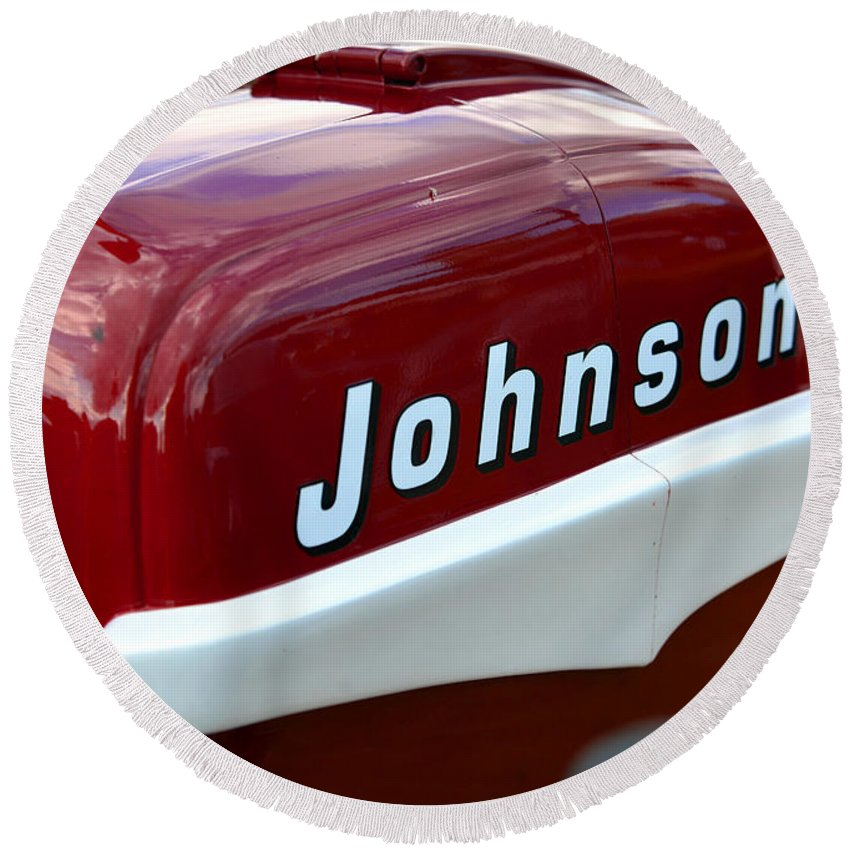 Vintage Outboard Round Beach Towel featuring the photograph Vintage Johnson Outboard Red by David Lee Thompson