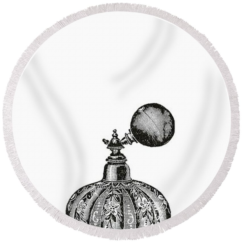 Drawing Round Beach Towel featuring the digital art Vintage Perfume Bottle Phone Case by Edward Fielding