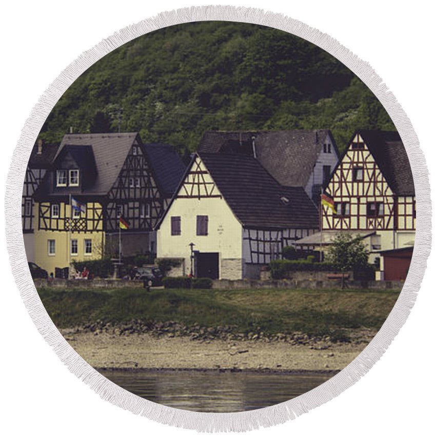 Teresa A Mucha Round Beach Towel featuring the photograph Vintage Postcard Look Of Spay Germany by Teresa Mucha