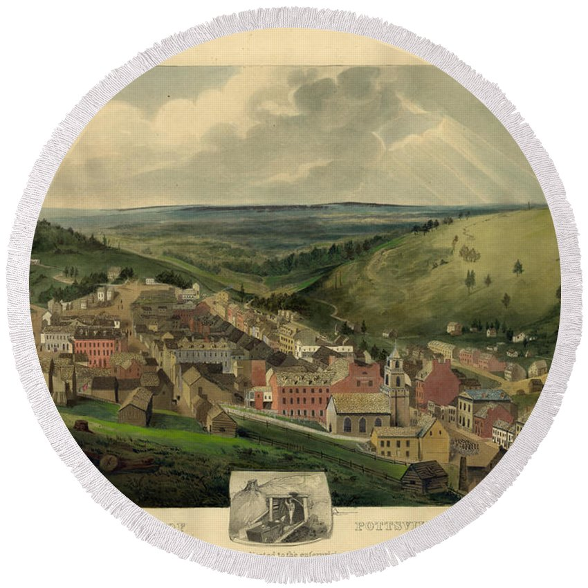 Pottsville Pennsylvania Round Beach Towel featuring the photograph Vintage Pottsville Pennsylvania Etching With Remarque by John Stephens