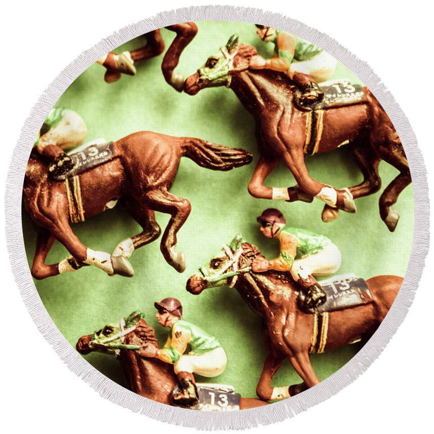 Racehorse Round Beach Towel featuring the photograph Vintage Racehorse Art by Jorgo Photography - Wall Art Gallery