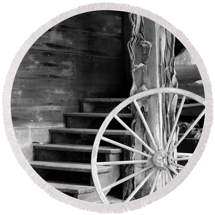 Wagon Wheel Round Beach Towel featuring the photograph Vintage Scene by Michelle Joseph-Long