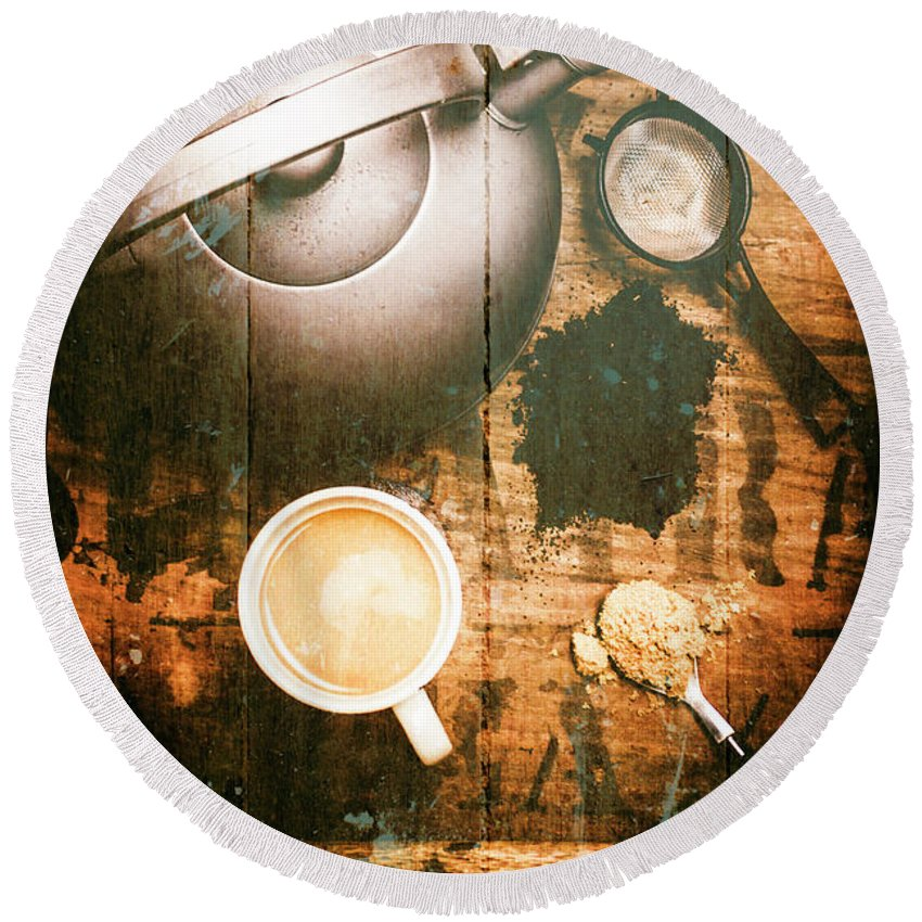 Vintage Round Beach Towel featuring the photograph Vintage Tea Crate Cafe Art by Jorgo Photography - Wall Art Gallery