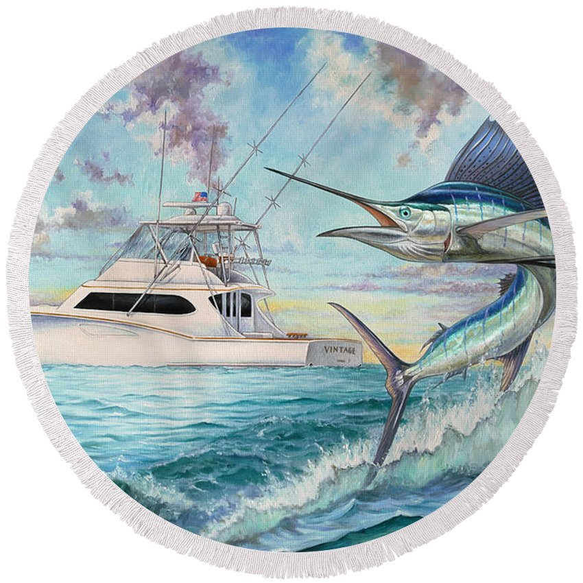 Sailfish Round Beach Towel featuring the painting Vintage by Terry Fox