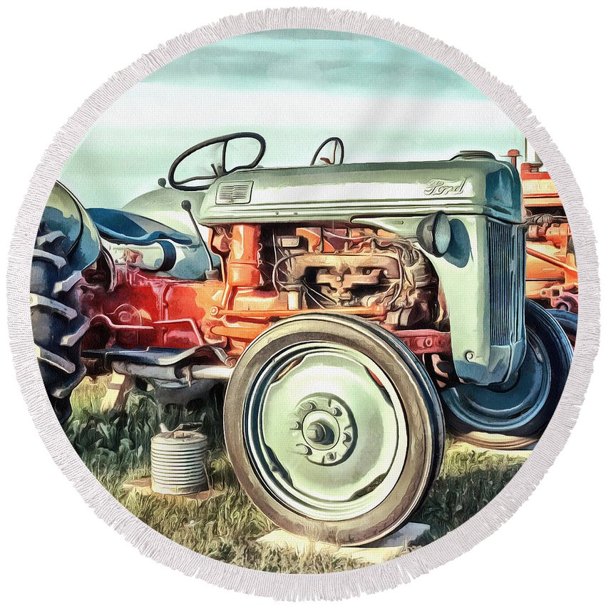 Painting Round Beach Towel featuring the painting Vintage Tractors PEI Square by Edward Fielding