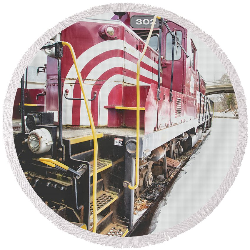 Railroad Round Beach Towel featuring the photograph Vintage Train Locomotive by Edward Fielding