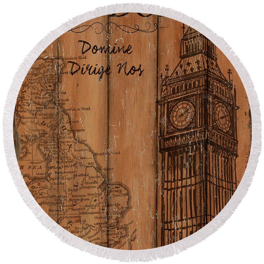 London Round Beach Towel featuring the painting Vintage Travel London by Debbie DeWitt