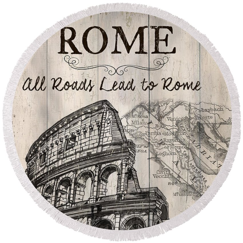 Rome Round Beach Towel featuring the painting Vintage Travel Poster by Debbie DeWitt