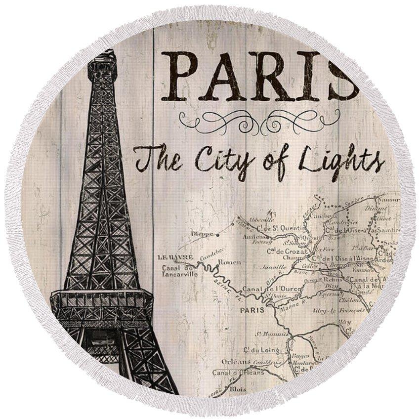 Paris Round Beach Towel featuring the painting Vintage Travel Poster Paris by Debbie DeWitt