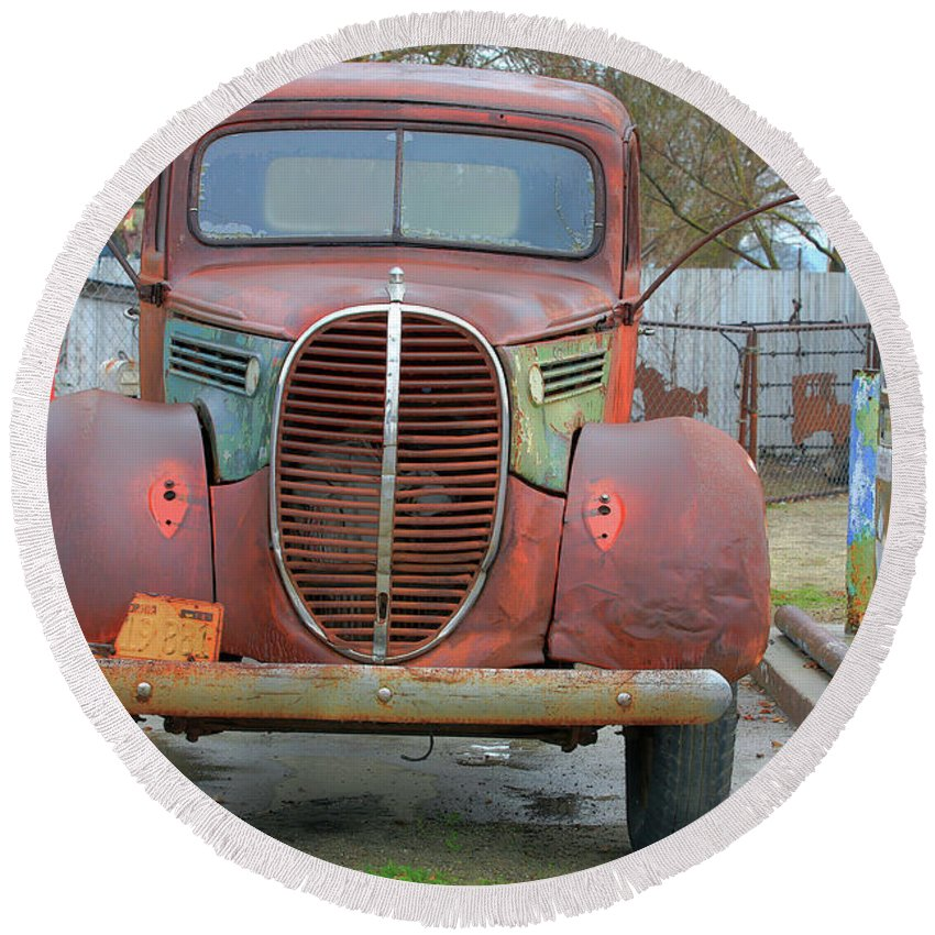 Vintage Round Beach Towel featuring the photograph Vintage Truck by Darrel Giesbrecht