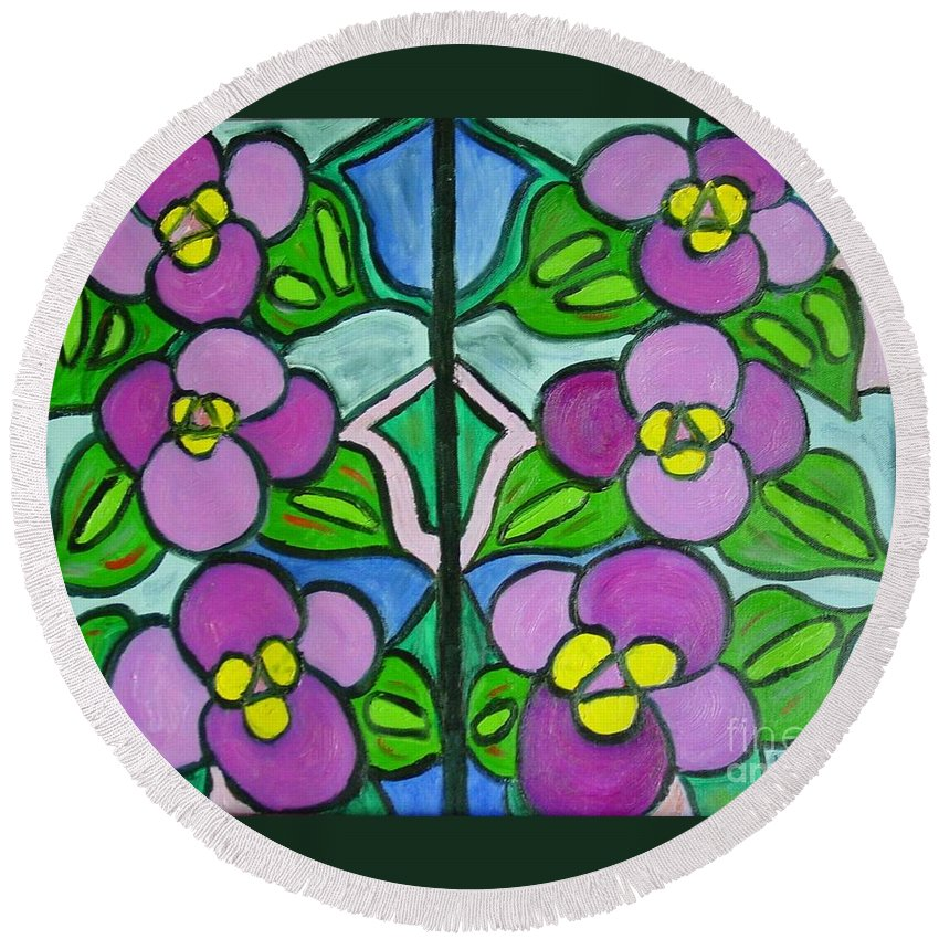Violets Round Beach Towel featuring the painting Vintage Violets by Laurie Morgan