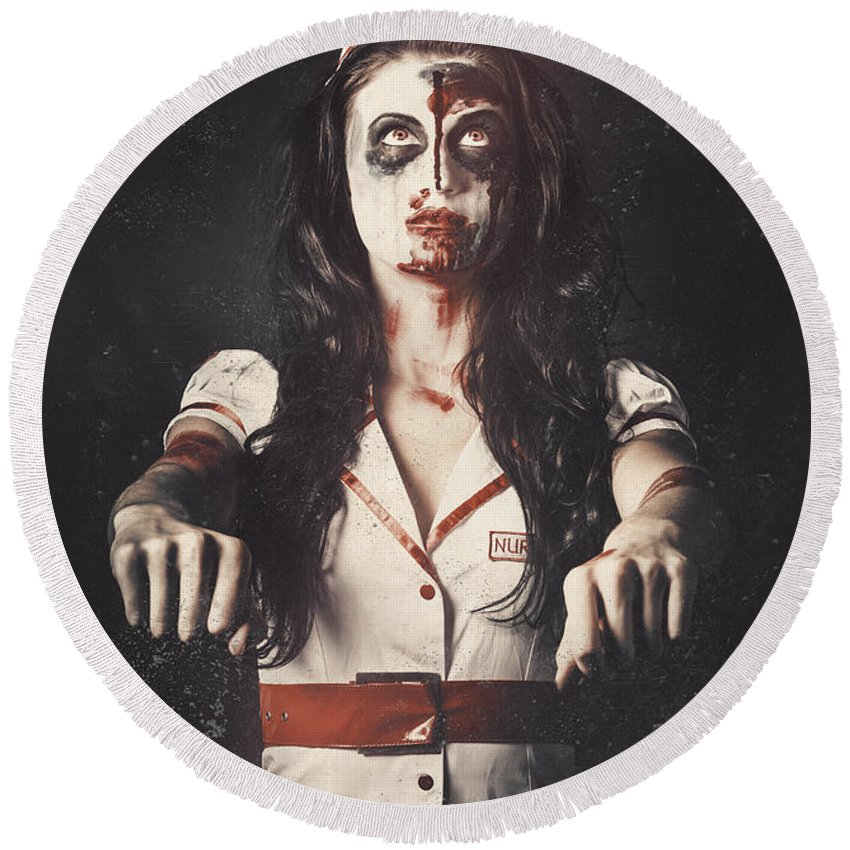 Zombie Round Beach Towel featuring the photograph Vintage Walking Dead Horror Nurse by Jorgo Photography - Wall Art Gallery