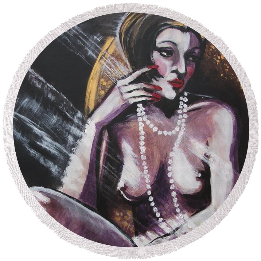 Original Round Beach Towel featuring the painting Vintage Years - White Pearls by Carmen Tyrrell