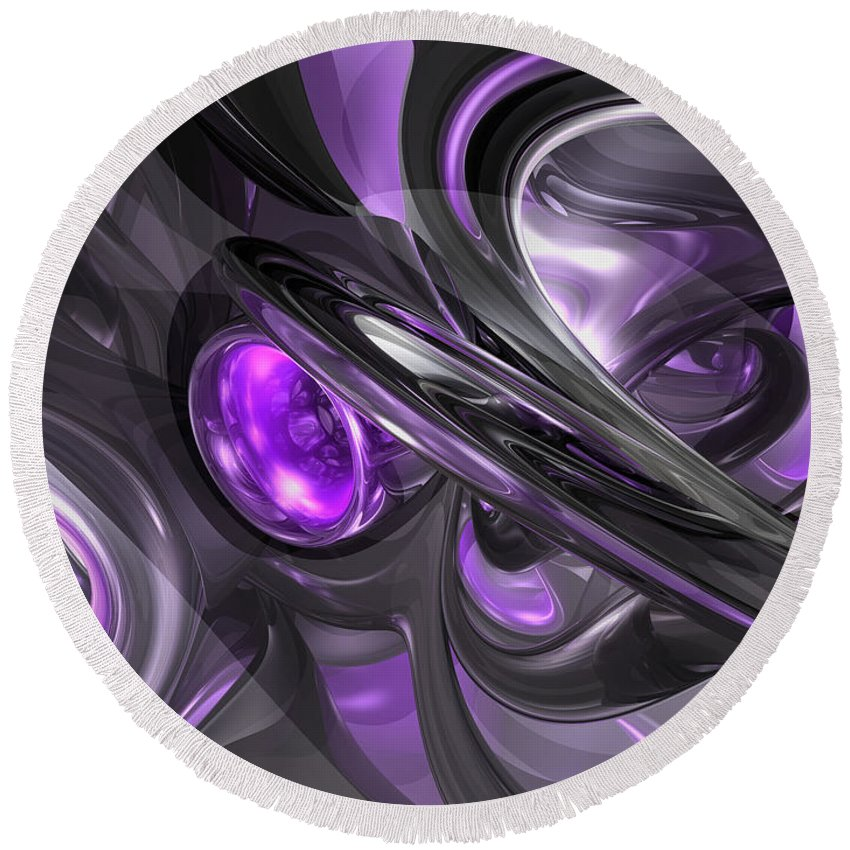 3d Round Beach Towel featuring the digital art Violaceous Abstract by Alexander Butler