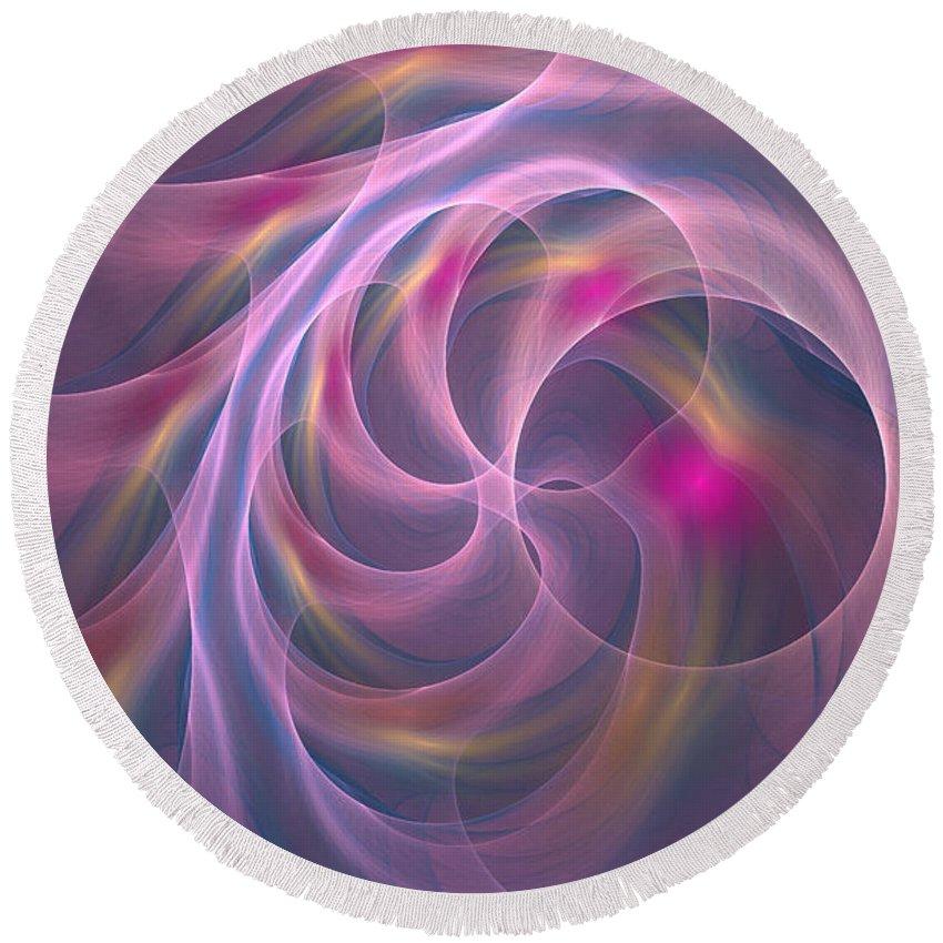 Digitalart Round Beach Towel featuring the digital art Violet Dreamy Feel by Deborah Benoit