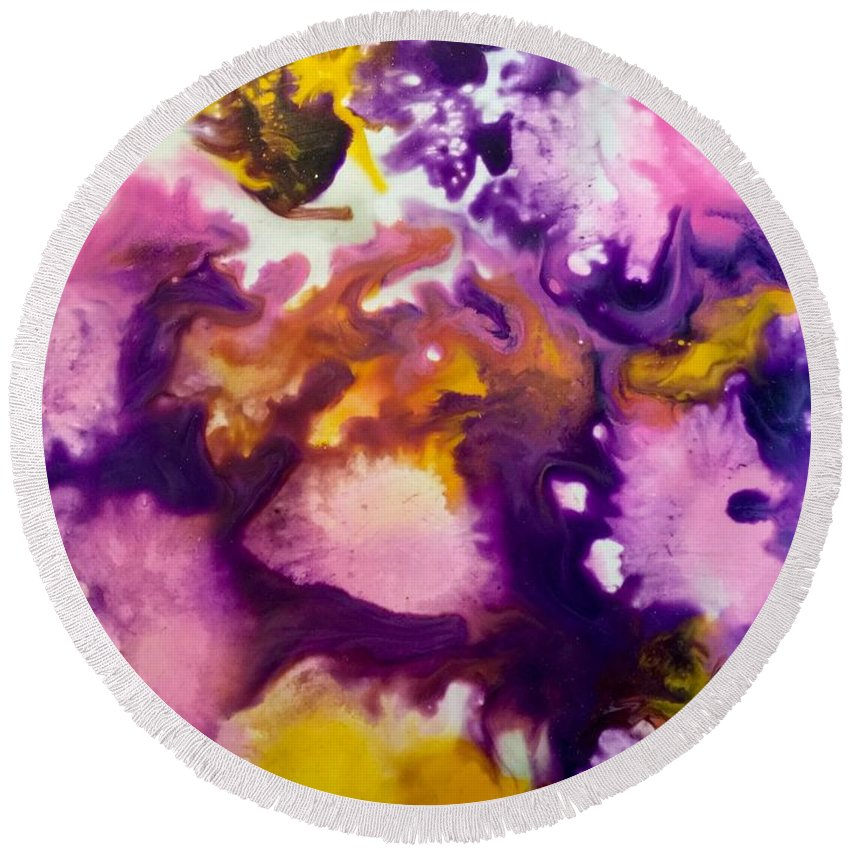 Violet Sbstract Round Beach Towel featuring the relief Violet Explosion by Denise Mc Nellis