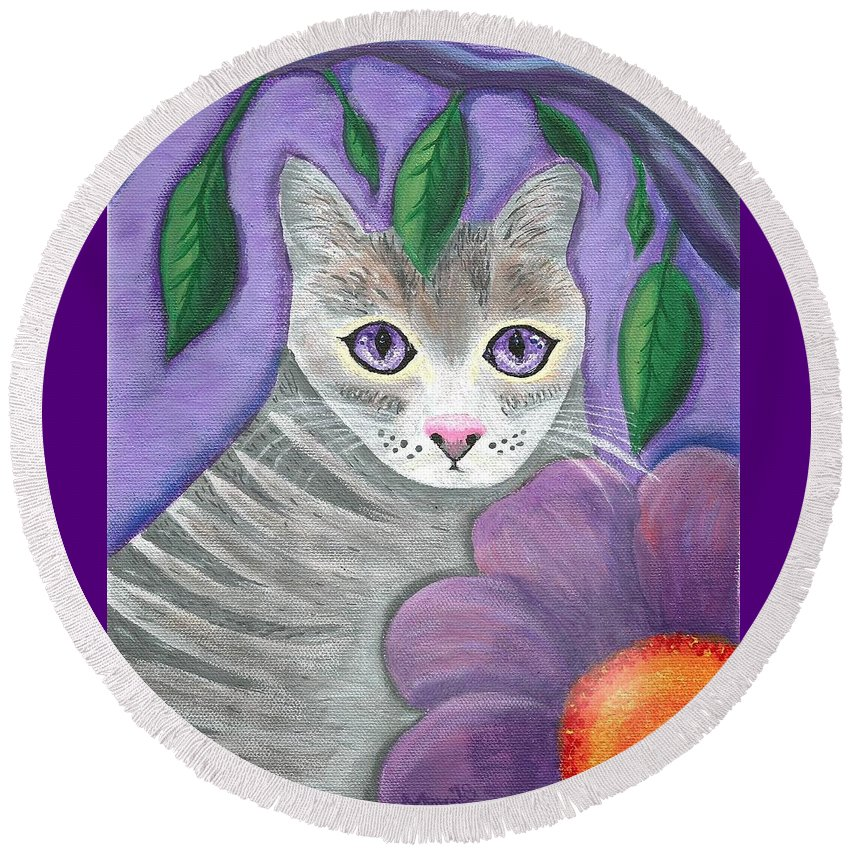 Violet Purple Lavender Eyes Kitty Cat Flower Floral Tabby Grey Round Beach Towel featuring the painting Violet Eyed Cat by Monica Resinger