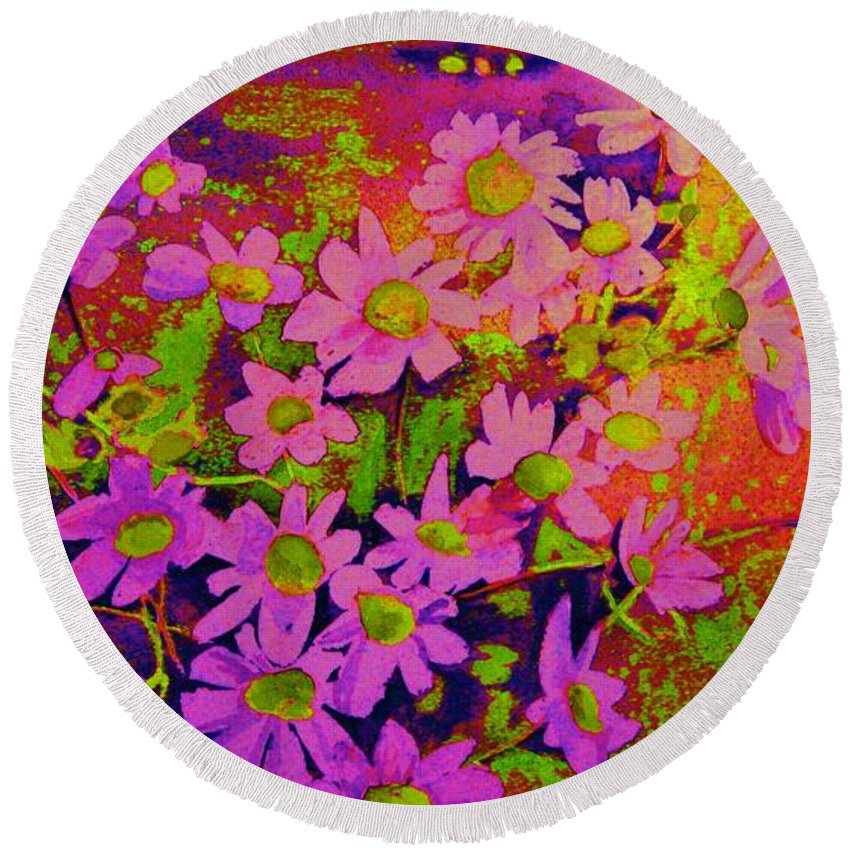 Violets Round Beach Towel featuring the painting Violets Among The Heather by Carole Spandau