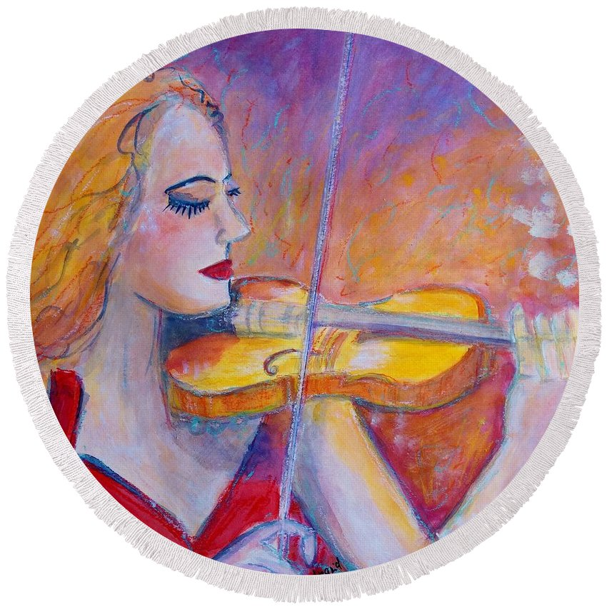 Painting Round Beach Towel featuring the painting Violin Player by Ingrid Becker