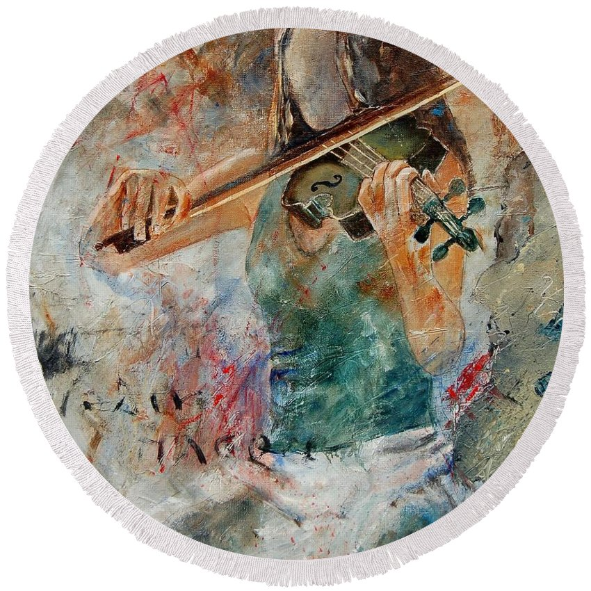 Music Round Beach Towel featuring the painting Violinist 56 by Pol Ledent