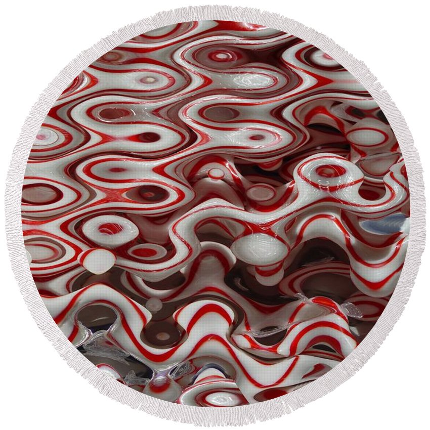 Digital Abstract Art Round Beach Towel featuring the digital art Viral Canes by Ron Bissett