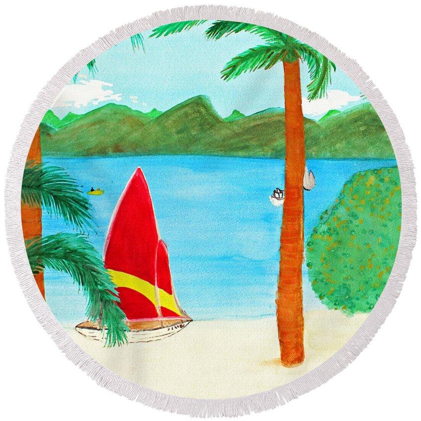 Art Round Beach Towel featuring the painting Virgin Island Memories by Lee Serenethos