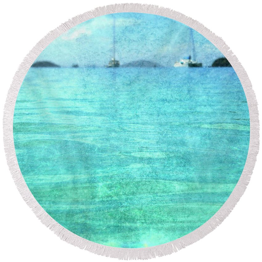 Round Beach Towel featuring the photograph Virgin Islands Blues by Guy Crittenden