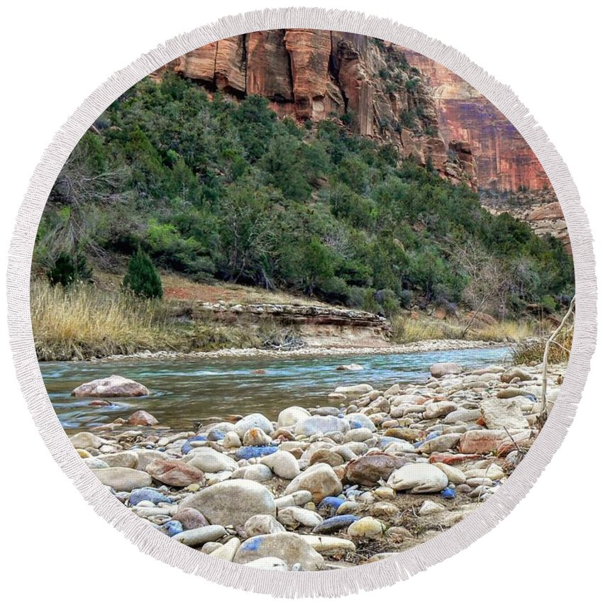 Virgin River Round Beach Towel featuring the photograph Virgin River In Zion Canyon by Rincon Road Photography By Ben Petersen