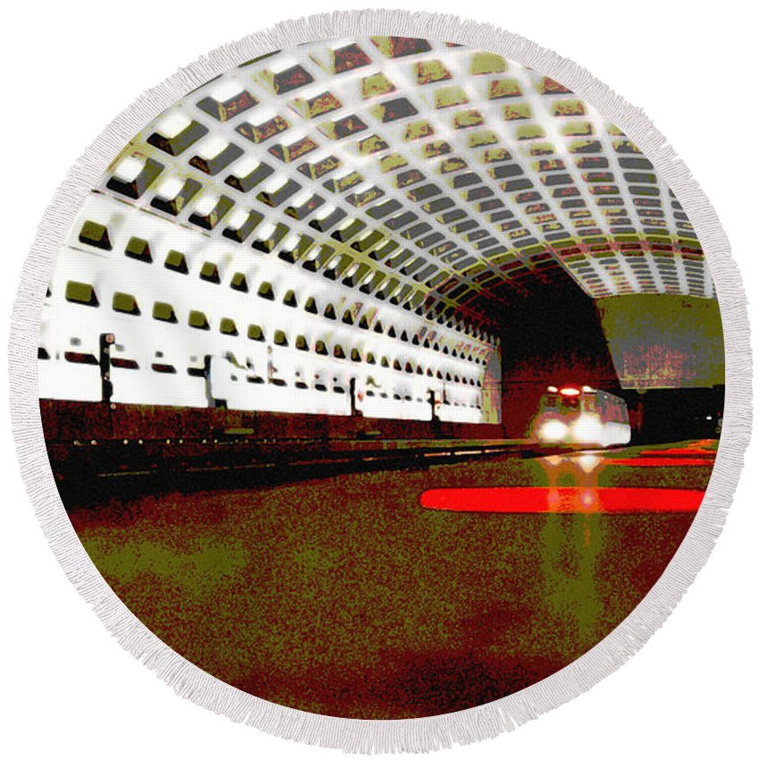 Subway Round Beach Towel featuring the photograph Virginia Square Metro II by Michelle Hastings