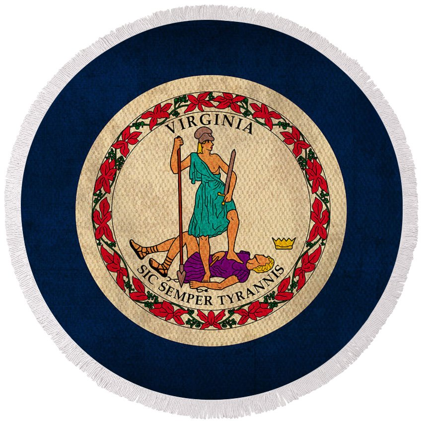 Virginia Round Beach Towel featuring the mixed media Virginia State Flag Art On Worn Canvas Edition 2 by Design Turnpike