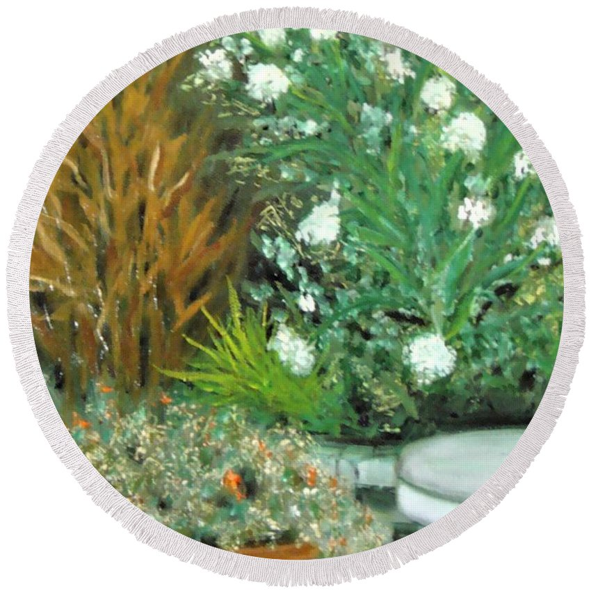 Virginia Round Beach Towel featuring the painting Virginia's Garden by Laurie Morgan