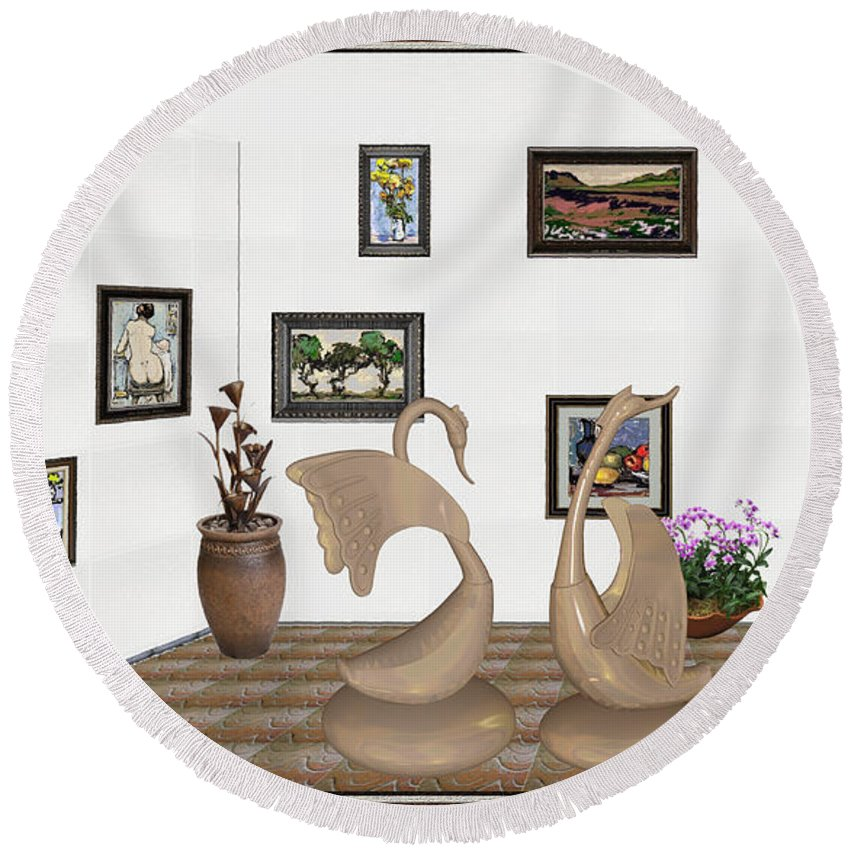 Pemaro Round Beach Towel featuring the mixed media virtual exhibition_Statue of swans 22 by Pemaro