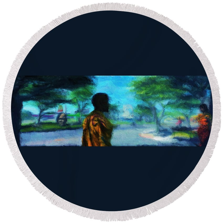 Scape Round Beach Towel featuring the digital art Visionary Roundabout Scene by Caito Junqueira