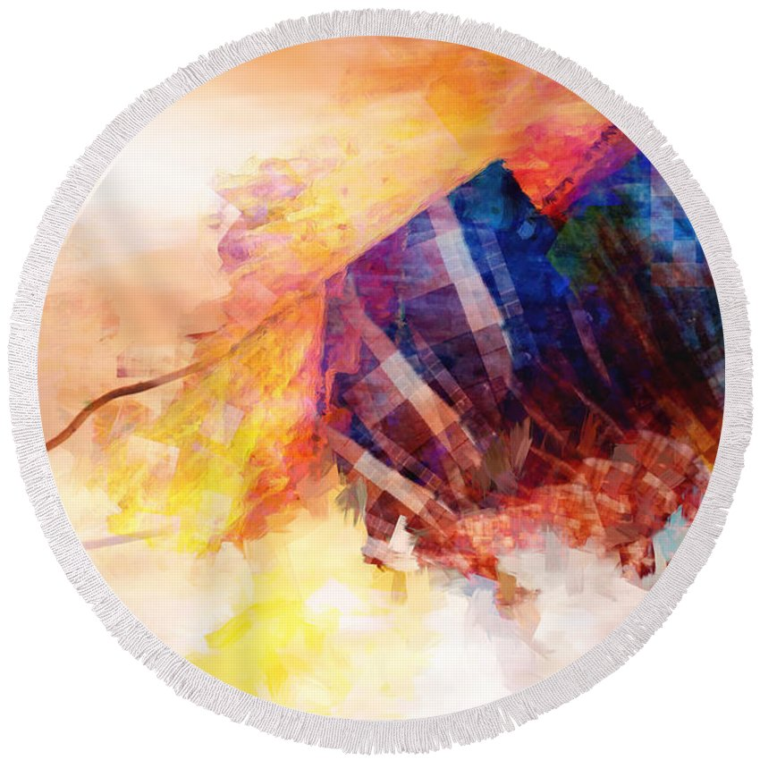 Astral Plane Round Beach Towel featuring the digital art Visions Of Hiranyaloka Revisited by David Derr