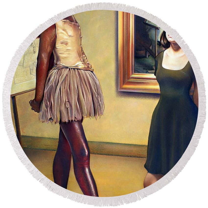 Edgar Degas Round Beach Towel featuring the pastel Visit To The Museum by Patrick Anthony Pierson