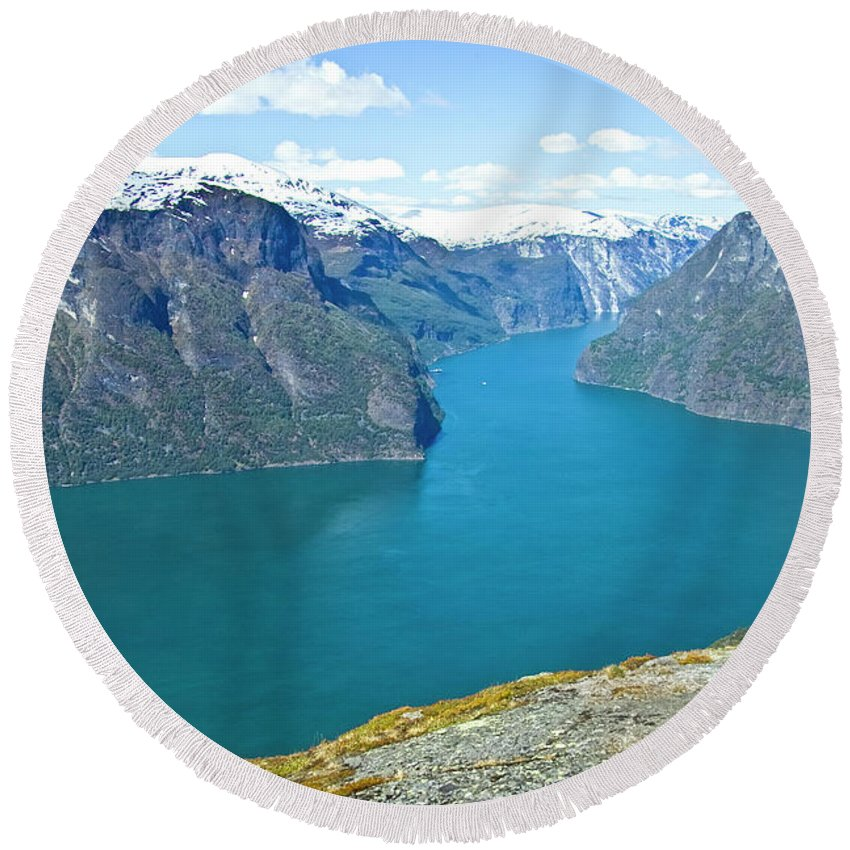Europe Round Beach Towel featuring the photograph Visitor At Aurlandsfjord by Heiko Koehrer-Wagner