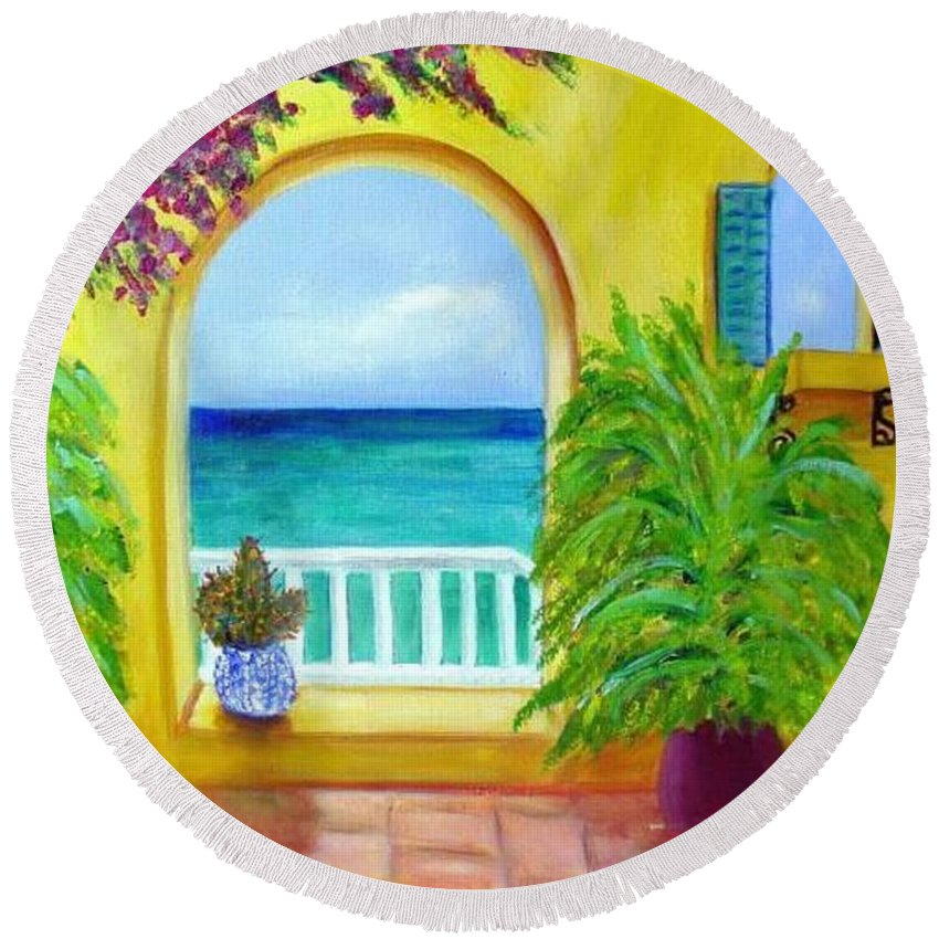 Patio Round Beach Towel featuring the painting Vista Del Agua by Laurie Morgan