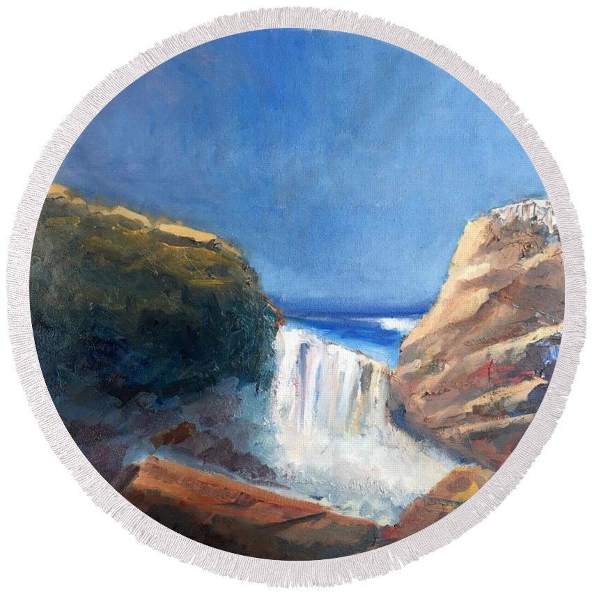 Landscape Round Beach Towel featuring the painting Vista Del Difunto by Richard W Diego