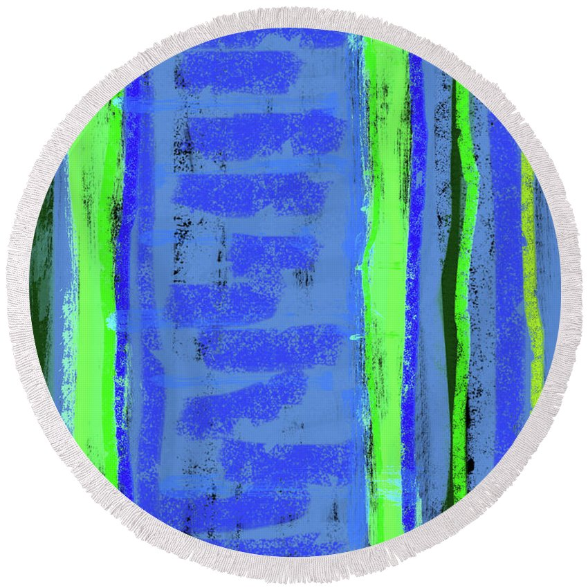 Line Round Beach Towel featuring the painting Visual Cadence Xxi by Julie Niemela