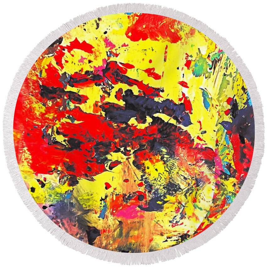 Round Beach Towel featuring the painting Viva Victoria by Shahrzad Khosravi