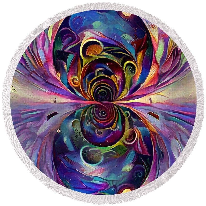 Multicolored Round Beach Towel featuring the digital art Vivid Worlds by Bruce Rolff