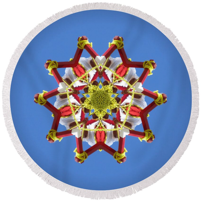 Danza De Los Voladores Round Beach Towel featuring the photograph Voladores Kaleidoscope 1 by Chad Kroll