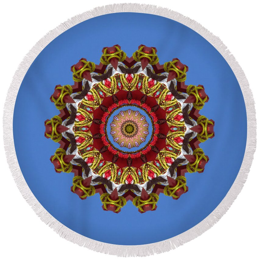 Photo Round Beach Towel featuring the photograph Voladores Kaleidoscope 3 by Chad Kroll