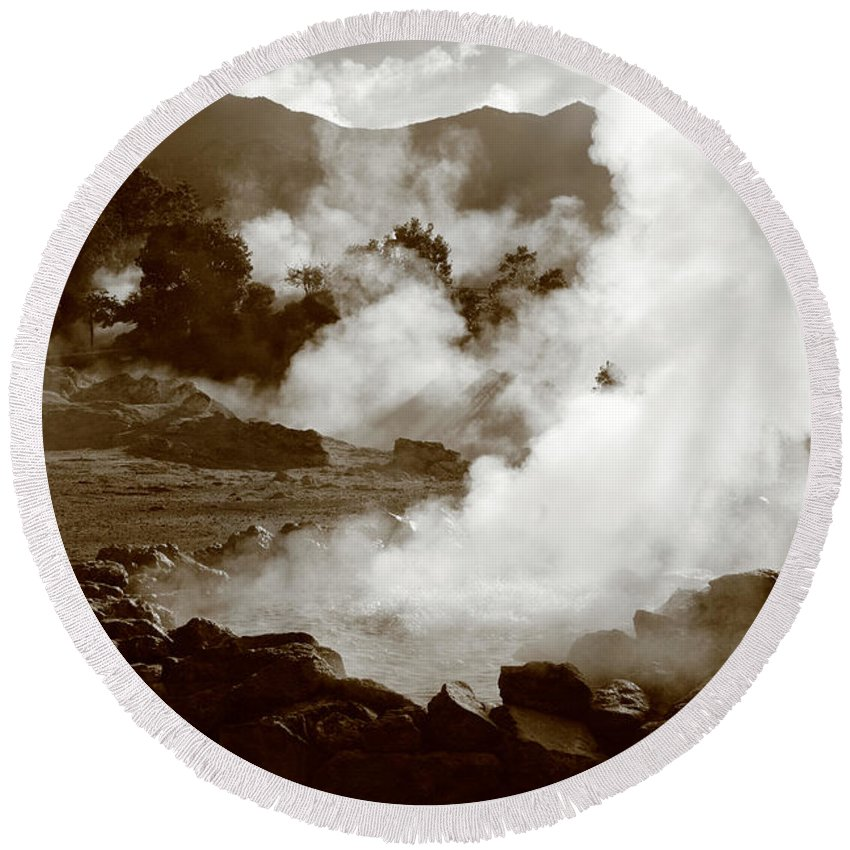 Azores Round Beach Towel featuring the photograph Volcanic Steam by Gaspar Avila