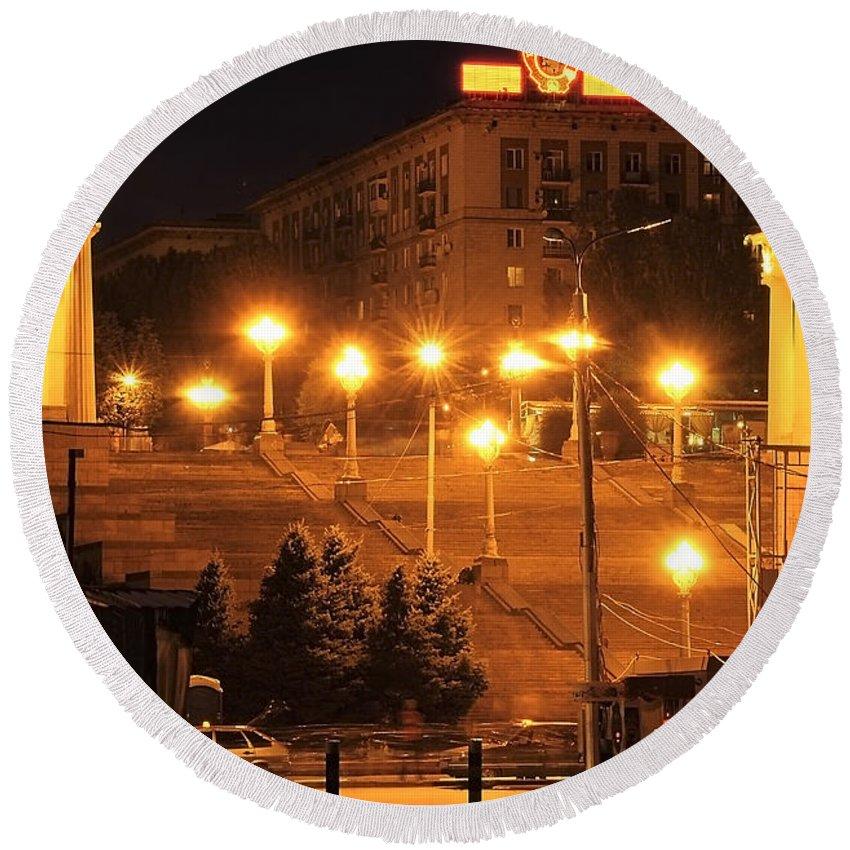 Volgograd Round Beach Towel featuring the photograph Volgograd Riverside by Svetlana Sewell
