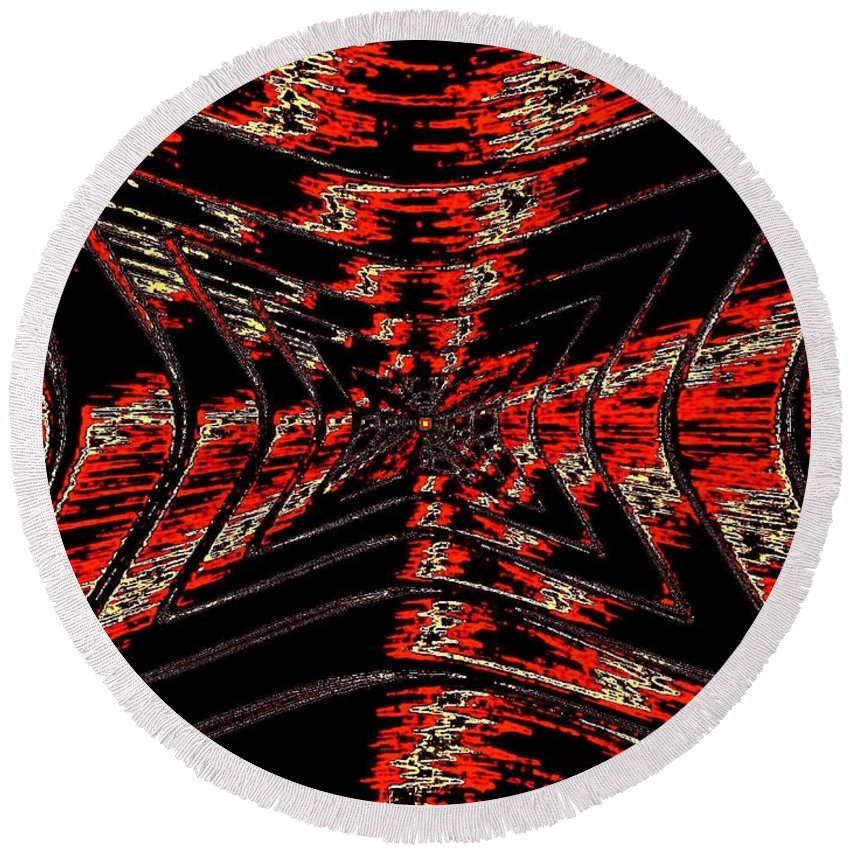 Abstract Round Beach Towel featuring the digital art Voltage by Will Borden